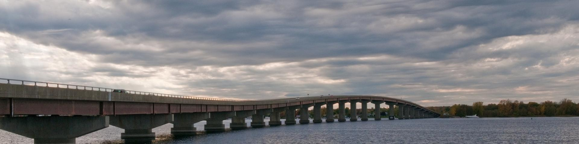 Image of bridge over Lake Champlain near Rouses Point, New York