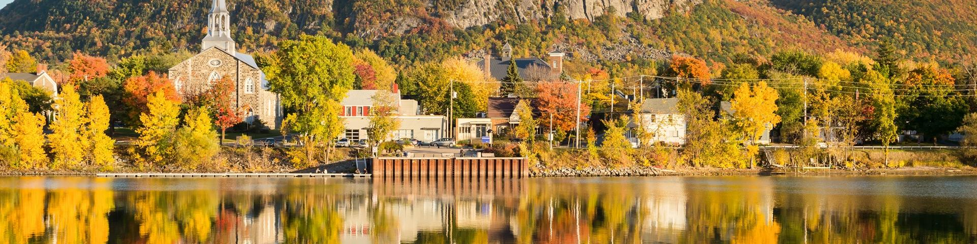 Image of Mont Saint-Hillaire in Fall from Richelieu River banks in Beloeil