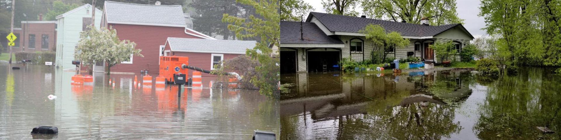 Images of flooding (left to right) upstream – Lake Ontario at Greece, New York, USA, 28 May 2019 (source: ILOSLRB) and downstream – St. Lawrence River at Lake St. Louis, Maple Grove, Quebec, Canada, 2 June 2019 (source: IJC).