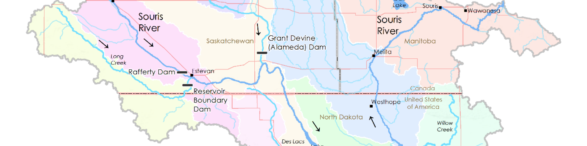 souris river basin map