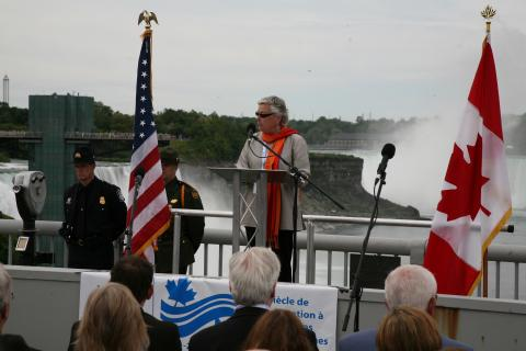 Picture of former U.S. Chair Irene Brooks at the Centennial Celebration of the IJC