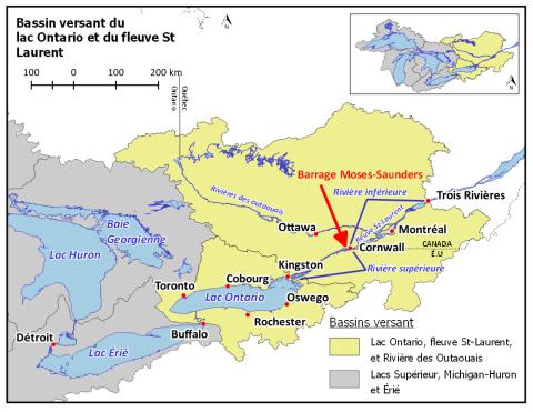 Carte du bassin du lac Ontario et du fleuve Saint-Laurent