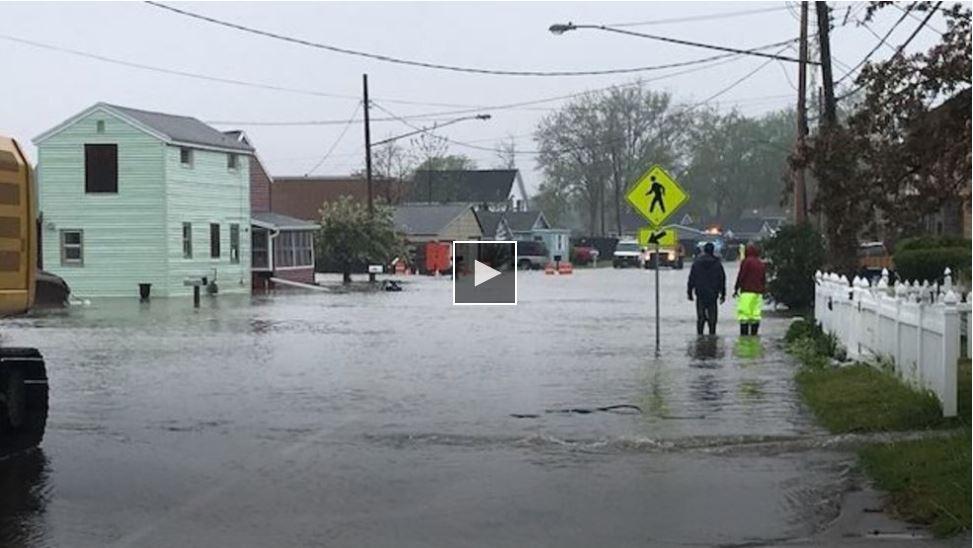 Upstream flooding in Beattie Beach, Greece, New York State, USA
