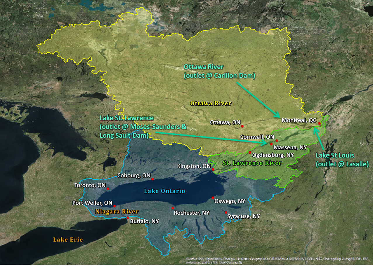 watershed basin map lake ontario